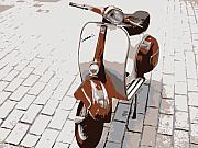 Brown Digital Art Acrylic Prints - Vespa Scooter Pop Art Acrylic Print by Michael Tompsett