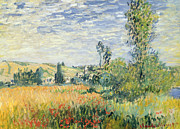 Green Field Paintings - Vetheuil by Claude Monet