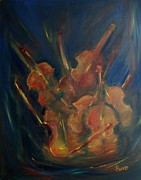 Violins Paintings - Vibrato by Robin Monroe