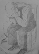 Milton Gore Drawings - Vicent Van Gogh - Man In Chair by Milton  Gore