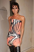 Peach Dress Framed Prints - Victoria Beckham Wearing A Giles Dress Framed Print by Everett