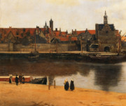Barge Posters - View of Delft Poster by Jan Vermeer