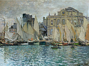 Town Pier Framed Prints - View of Le Havre Framed Print by Claude Monet