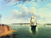 Sailboat Ocean Framed Prints - View of New York from Bedloes Island Framed Print by Joseph B Pringle