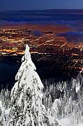 Vancouver Photo Prints - View of Vancouver from Grouse mountain at sunset Print by Pierre Leclerc