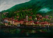 Villa Painting Originals - Village View on Lake Como  by Charlotte Blanchard