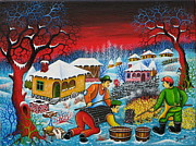 Serbian Painting Originals - Village by Zoran Zaric