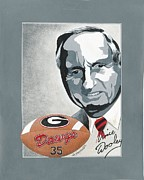 Georgia University Framed Prints - Vince Dooley Portrait Framed Print by Herb Strobino