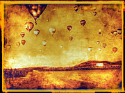 Winery Digital Art - Vineyard Hot Air Balloon Parade by Kevin Moore