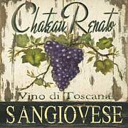 Painted Glass Prints - Vineyard Red Wine Sign Print by Grace Pullen