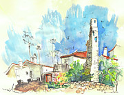 Townscape Drawings Framed Prints - Vinhais in Portugal 02 Framed Print by Miki De Goodaboom