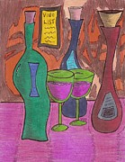 Wine Glasses Paintings - Vino List by Ray Ratzlaff