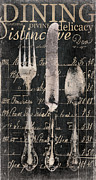 Bistro Painting Metal Prints - Vintage Dining Utensils in Black  Metal Print by Grace Pullen