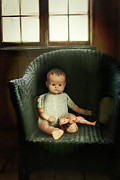 Eerie Posters - Vintage dolls on chair in dark room Poster by Sandra Cunningham