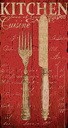 Eating Painting Framed Prints - Vintage Kitchen Utensils in Red Framed Print by Grace Pullen