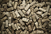 Monotone Photo Prints - Vintage Wine Corks Print by Frank Tschakert