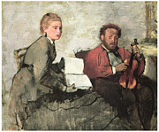 Man And Woman Paintings - Violinist and Young Woman by Edgar Degas