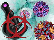 Linked Framed Prints - Viral Pathogens, Conceptual Artwork Framed Print by Laguna Design
