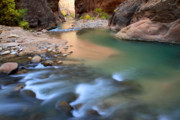 Cascades Prints - Virgin river in Zion national park Print by Pierre Leclerc