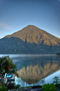 Volcano Posters - Volcano and Reflection Lake Atitlan Guatemala Poster by Douglas Barnett