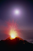 Volcano Metal Prints - Volcano At Night Metal Print by Dr Juerg Alean