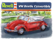Kit Digital Art Prints - VW Beetle Print by Russell Pierce