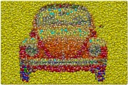 Emoticon Framed Prints - VW Bug Smiley face Mosaic Framed Print by Paul Van Scott