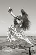 E Black Photo Prints - Wahine Hula Print by Himani - Printscapes