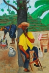 West Indies Paintings - Waiting For Supper by Nicole Jean-Louis