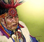 Pencil Native American Drawings - Waiting To Dance by Susan Bergstrom