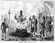 Anti Protestant Prints - Waldenses Burned Alive Print by Granger