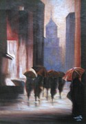 Usha Rai Art - Walking in the rain by Usha Rai