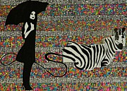 Umbrella Drawings Prints - Walking The Zebra Print by Dana Gumms