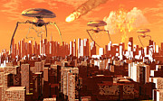 Blazing Prints - War Of The Worlds Print by Mark Stevenson