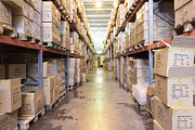 Packages Prints - Warehouse Aisle Print by Magomed Magomedagaev
