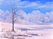 Snowy Trees Paintings - Warm Cold Day by Penny Neimiller
