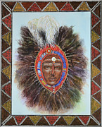 Ostrich Mixed Media - Warrior in Beaded Ostrich Headdress by Carol J  South