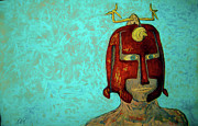 Antenna Paintings - Warrior Mask by Raul Morales