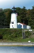 Bay Pyrography Prints - Warwick Neck Lighthouse Print by Thomas Theroux