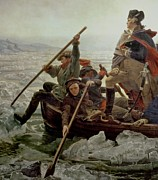Us Flag Paintings - Washington Crossing the Delaware River by Emanuel Gottlieb Leutze