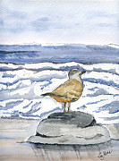 Life Greeting Cards Painting Originals - Watching by Eva Ason