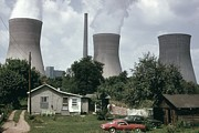 Power Plants Prints - Water Cooling Towers Of The John Amos Print by Everett