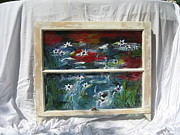 Impressionism Glass Art Originals - Water Lilies by Jeff Sie