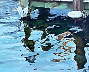 Bouys Paintings - Water Reflections 1 by Sandra Bellestri