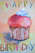 Sweets Painting Acrylic Prints - Watercolor illustration of cake  Acrylic Print by Regina Jershova