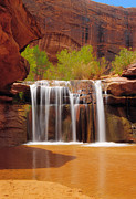 Desert Prints - Waterfall in Coyote Gulch Utah Print by Utah Images
