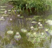 Ponds Painting Posters - Waterlilies at Midday Poster by Claude Monet