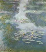 Flower Blooms Posters - Waterlilies Poster by Claude Monet