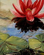 Waterlily Poster Posters - Waterlily Pond III Poster by Alla Dickson
