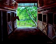Horse Stable Painting Posters - Waters Edge Farm Poster by Jack Skinner